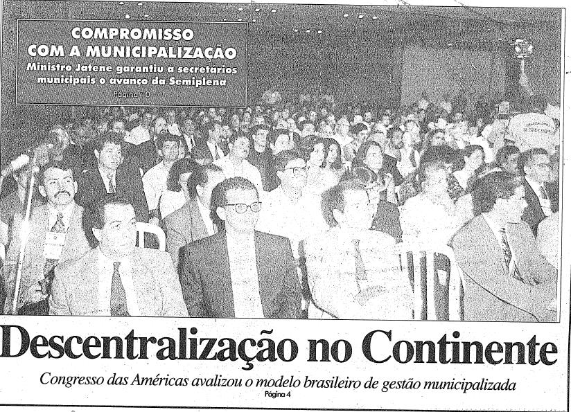 Capa do jornal do Conasems que traz o Congresso internacional como destaque