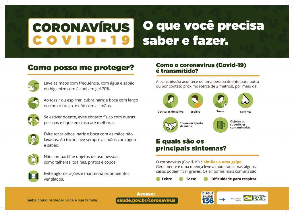 Cartilha de prevenção contra o coronavírus do Ministério da Saúde.